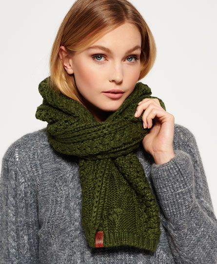 olive Superdry North Cable Scarf