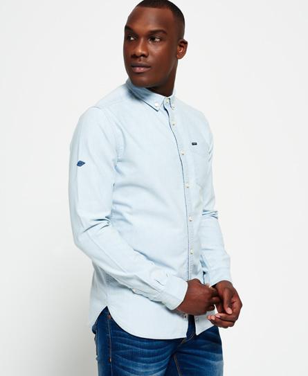 Se Superdry Superdry Indigo Loom Oxford skjorte ved SuperDry