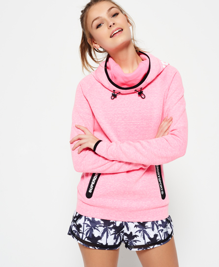 new neon pink grit Superdry Sweat à capuche Gym Tech Cowl