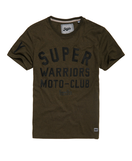 schwarz olivgrün gesprenkelt Superdry Warriors Biker T-Shirt