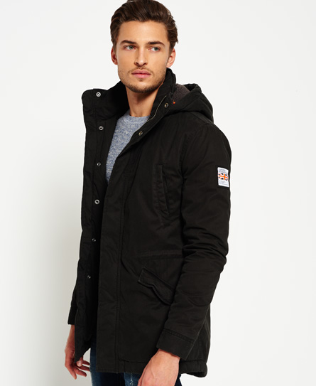 Mens - Rookie Military Parka Jacket in Bitter Black | Superdry