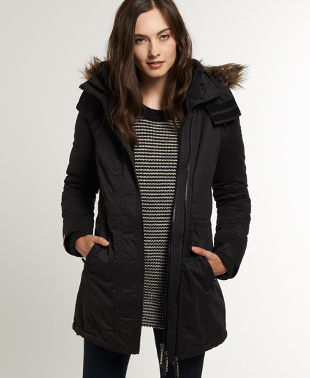 Superdry Hooded Super Windcheater Coat Black