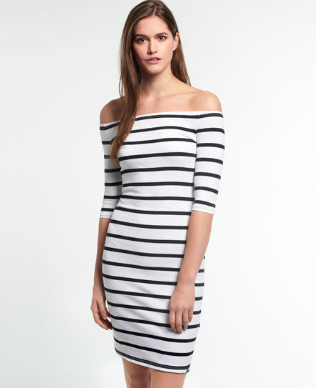 black/white stripe Superdry Bardot Bodycon-Kleid