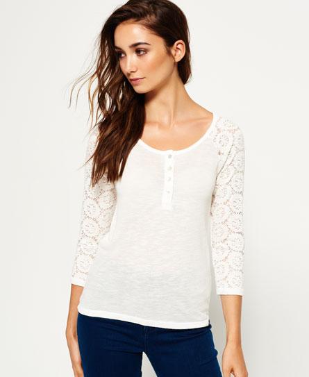 winter white Superdry Slub Twist Jersey Lace Grandad-Shirt