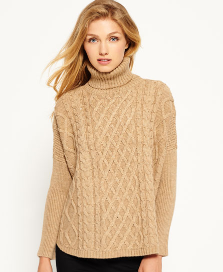 camel Superdry Cable Cape trui