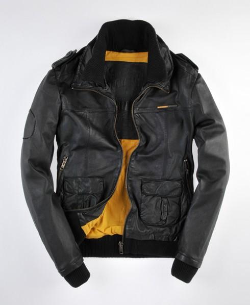 Superdry bomber leather jacket