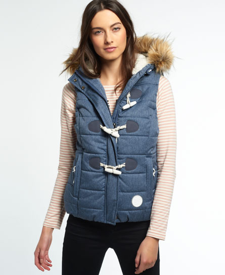 Superdry Marl Toggle Puffle Gilet Blue