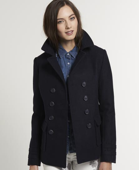 Womens - Liberty Bell Peacoat in Dark Navy | Superdry