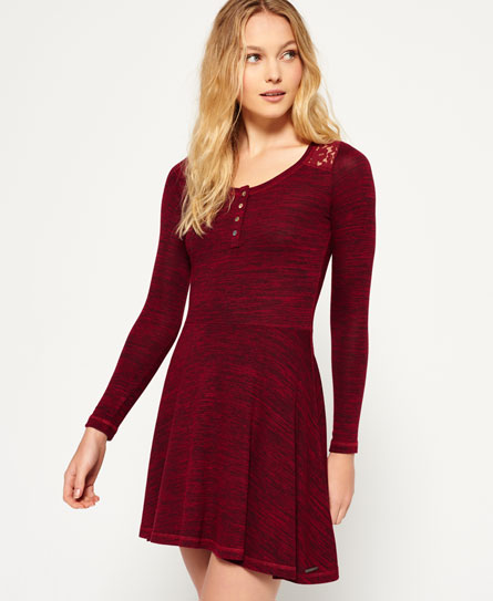 Superdry Peggy Grandad Skater Dress  Red