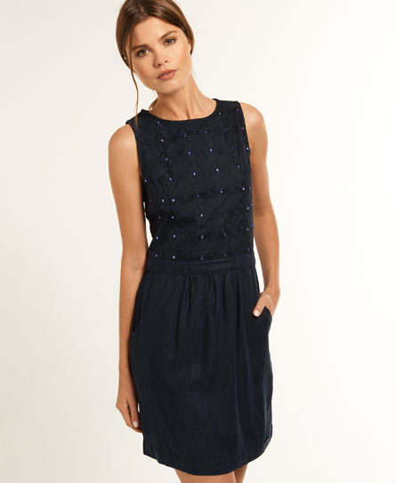 Superdry Stitched Tulip Dress Blue