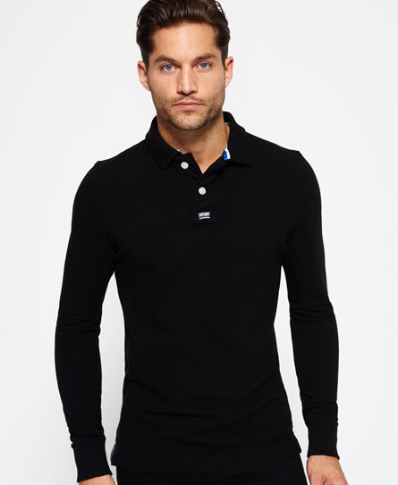 bison black Superdry Classic Pique Polo Shirt
