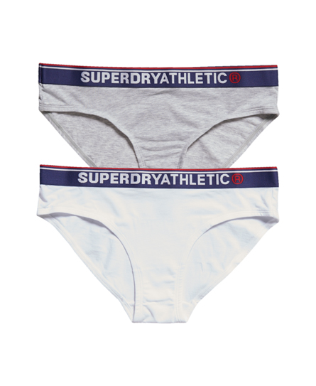 grey marl/optic Superdry Tri Athletic Briefs Double Pack