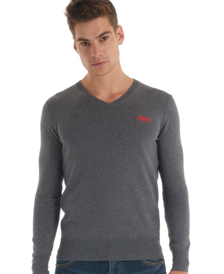 Superdry Orange Label Vee Neck Dark Grey