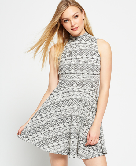 tribal marl grey Superdry Erin Festival Skater Kleid