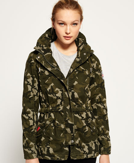 Womens - Rookie Tall Collar Parka Jacket in Army Camo | Superdry