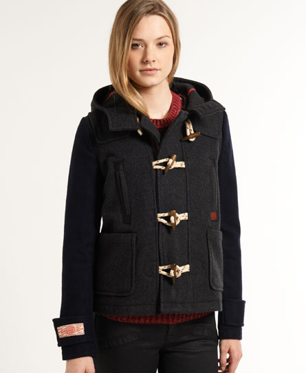 Womens - Crop Mix Duffle Coat in Charcoal/navy | Superdry