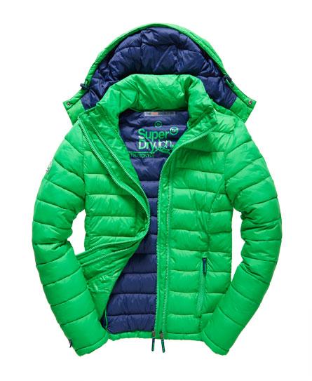 Mens - Fuji Double Zip Hood Jacket in Bright Green   Superdry
