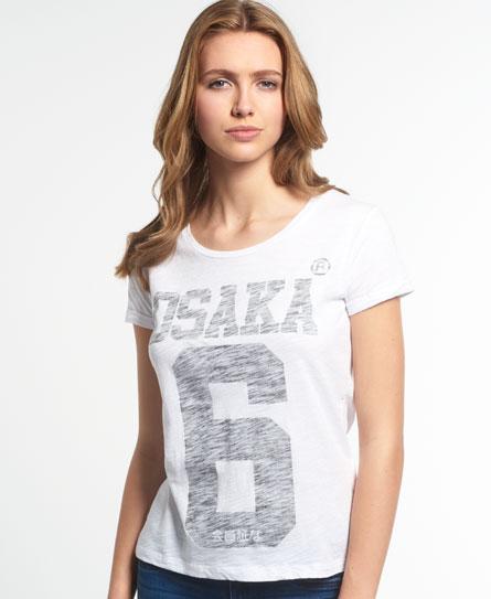 weiss Superdry Osaka Burn Out T-Shirt