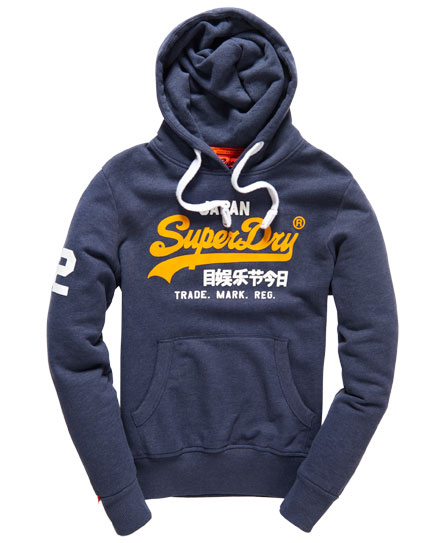 Mens Superdry Vintage Logo New Hood in Navy Concrete Marl