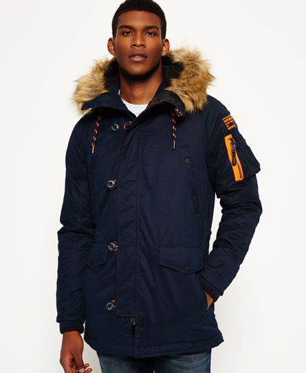 Mens - Microfibre SD-3 Parka Jacket in Navy/navy | Superdry