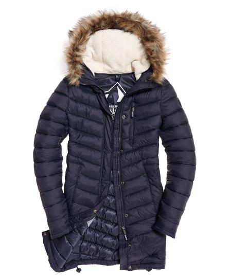 Womens Chevron Fur Super Fuji Jacket In Ink Superdry