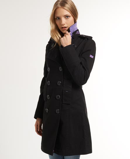 Superdry Bridge Twill Coat Black