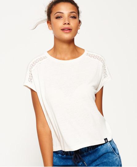 Superdry Superdry T-shirt med blondeindsats