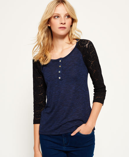 belle blue Superdry Slub Twist Jersey Lace Grandad-Shirt