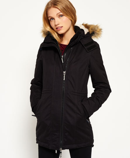 black Superdry Microfibre Tall Windparka Jacket