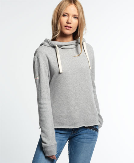 superdry marl crop hoodie damen hoodies. Black Bedroom Furniture Sets. Home Design Ideas