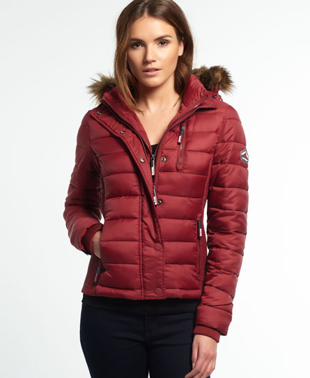 wine red Superdry Fuji Slim Double Zip Hooded Jacket