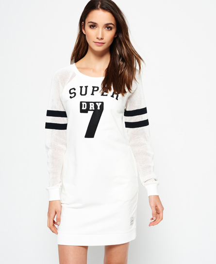 gedecktes ecru Superdry College Tribe Sweatkleid