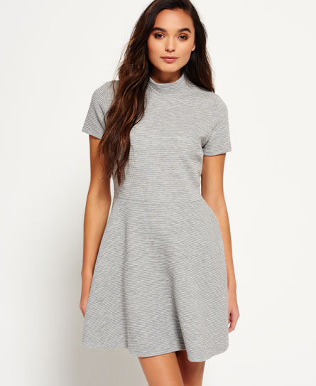 Superdry Erin Collar Dress  Light Grey