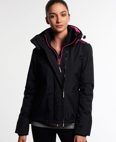 Ladies Superdry Pop-Zip Hooded Arctic Windcheater in Black / Punk Pink