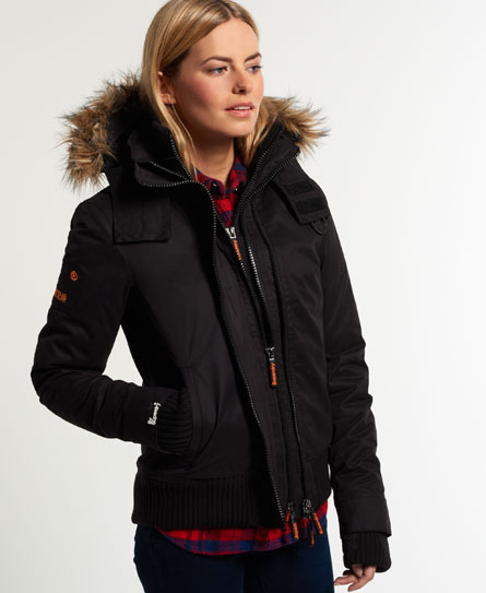 Superdry Microfibre Fur Hooded Windbomber Jacket - Women's Jackets ...
