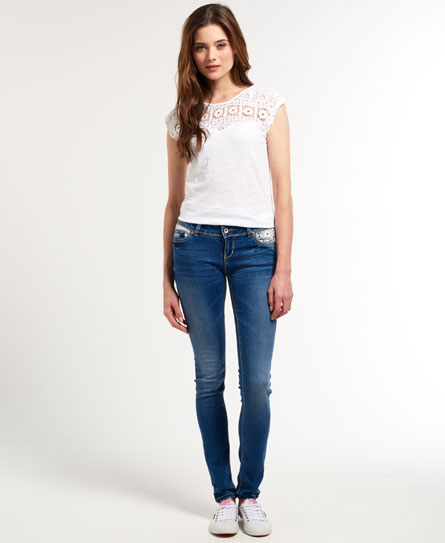 Superdry Super Skinny Lace Jeans Blue - Womens - Super Skinny Lace Jeans In Super Bellaire Lace Superdry