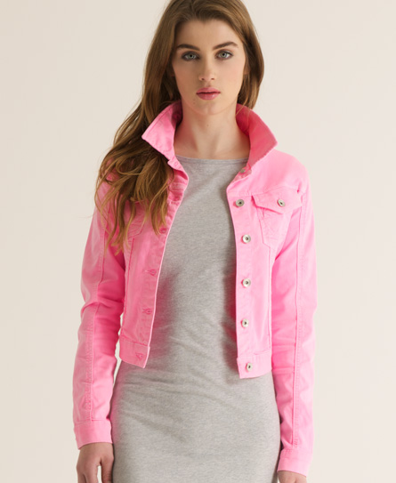 Womens - Skinny denim jacket in Phospho Pink | Superdry