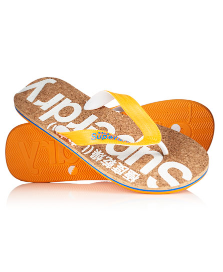 cork/optic/fluro orange Superdry Cork teenslippers