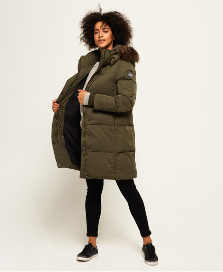 Womens - Cocoon Parka Jacket in Khaki | Superdry