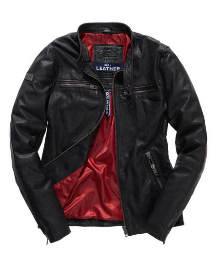 Superdry Real Hero Leather Biker Jacket Black