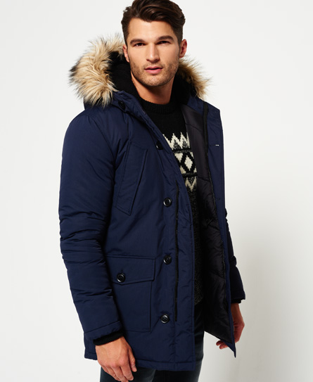 Mens - Faux Fur Trimmed Everest Jacket in Eclipse Navy | Superdry