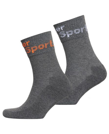 grey marl Superdry Dry Mid-Sock Double Pack