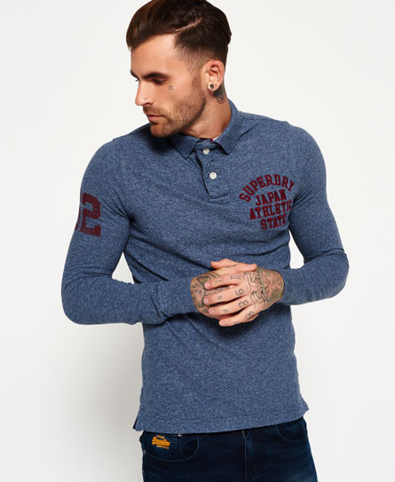 indigo grindle Superdry Super State Long Sleeve Polo Shirt