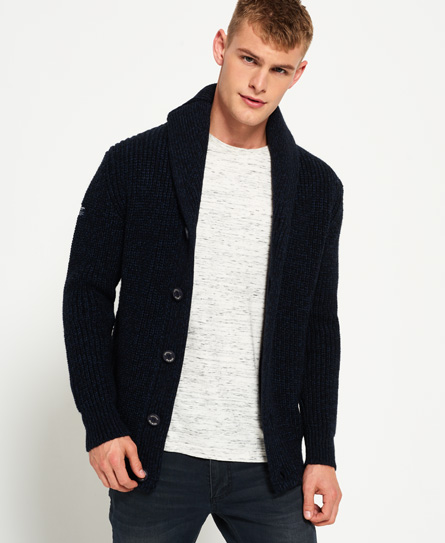 mens jacob shawl cardigan in navy black twist superdry. Black Bedroom Furniture Sets. Home Design Ideas