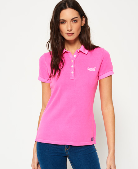 Womens pique polo shirt in fluro pink superdry for Ladies pique polo shirts