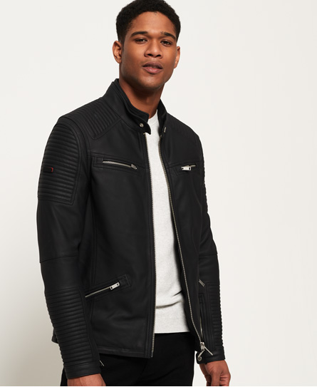 Premium Leather Racer Jacket by Superdry