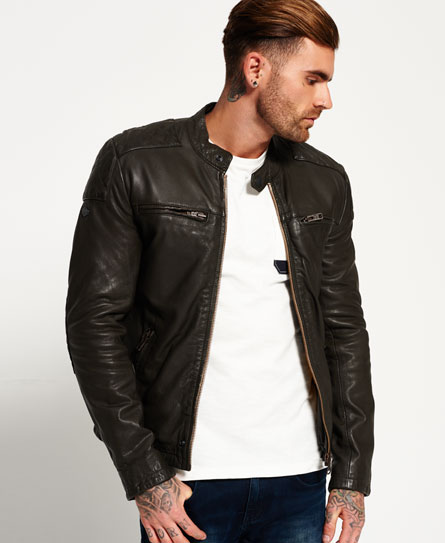 mens endurance trial leather jacket in dark army superdry. Black Bedroom Furniture Sets. Home Design Ideas