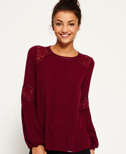 rich berry Superdry Niagara Lacy Shirt