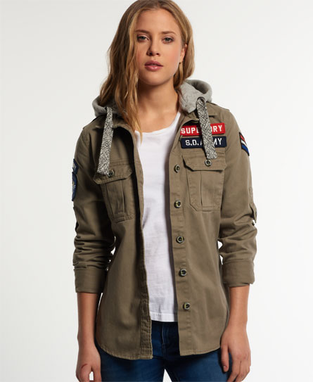 army green Superdry Washed Twill Military Shirt
