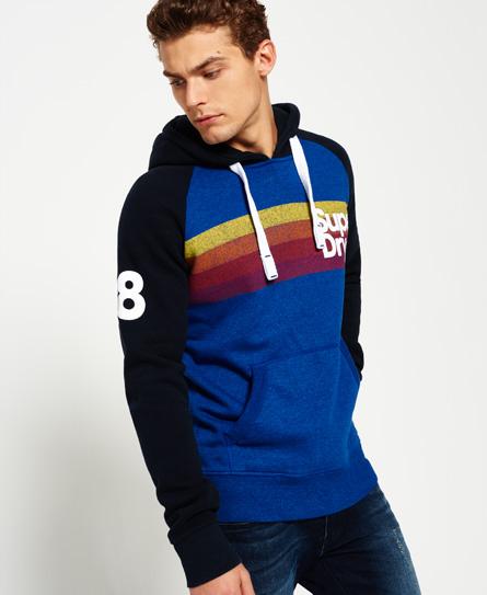 superdry retro mountain raglan hoodie mit streifen herren hoodies. Black Bedroom Furniture Sets. Home Design Ideas